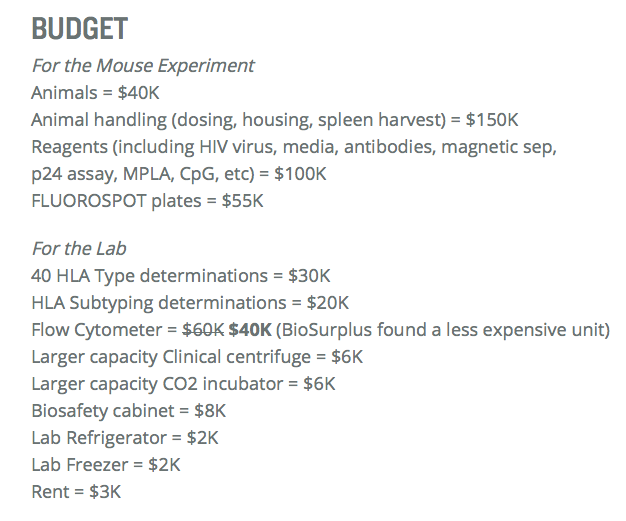 Immunity Project Budget