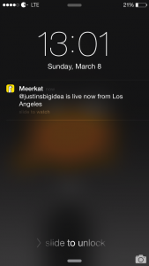 Meerkat iOS notification